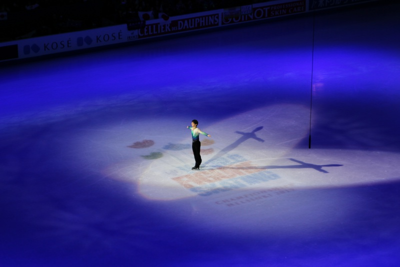 Yuzuru Hanyu during the medal ceremony