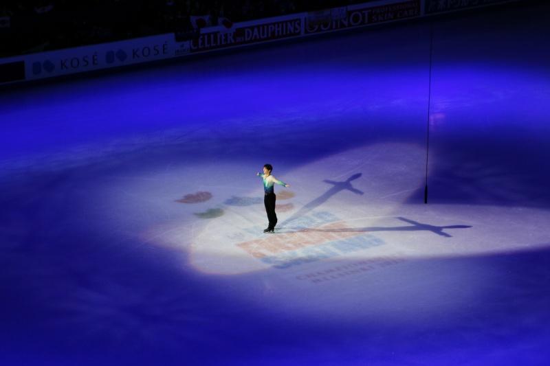 Yuzuru Hanyu during the medal ceremony
