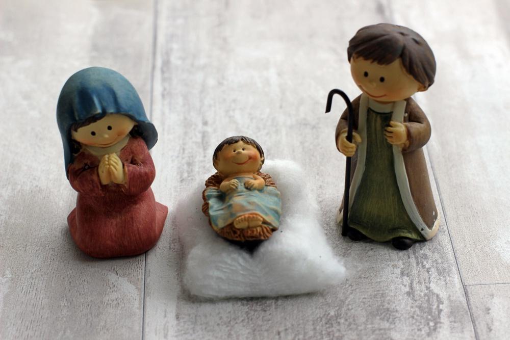 Maria, Josef und das Jesuskind in der Kinderkrippe