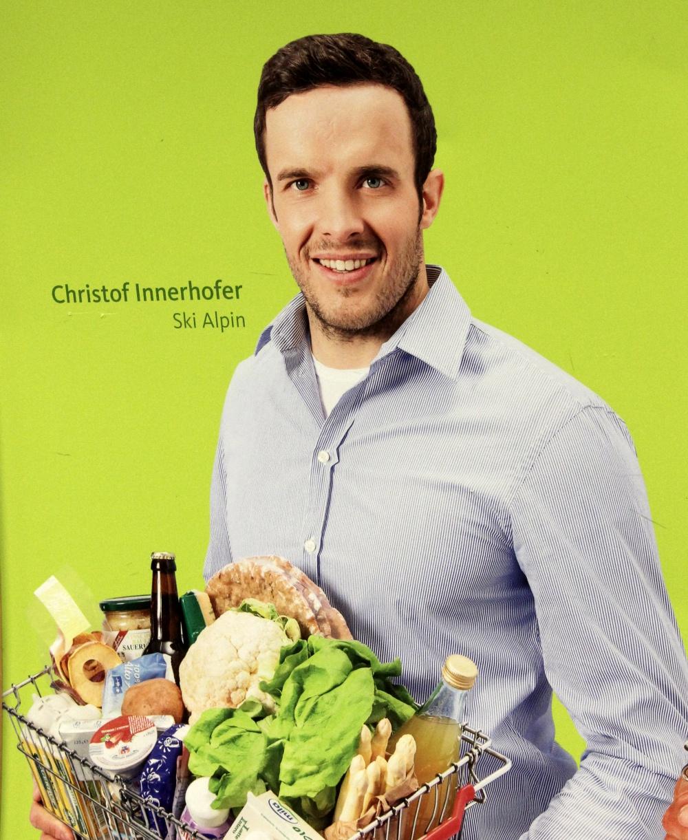 Werbung mit Christof Innerhofer in St. Ulrich Gröden