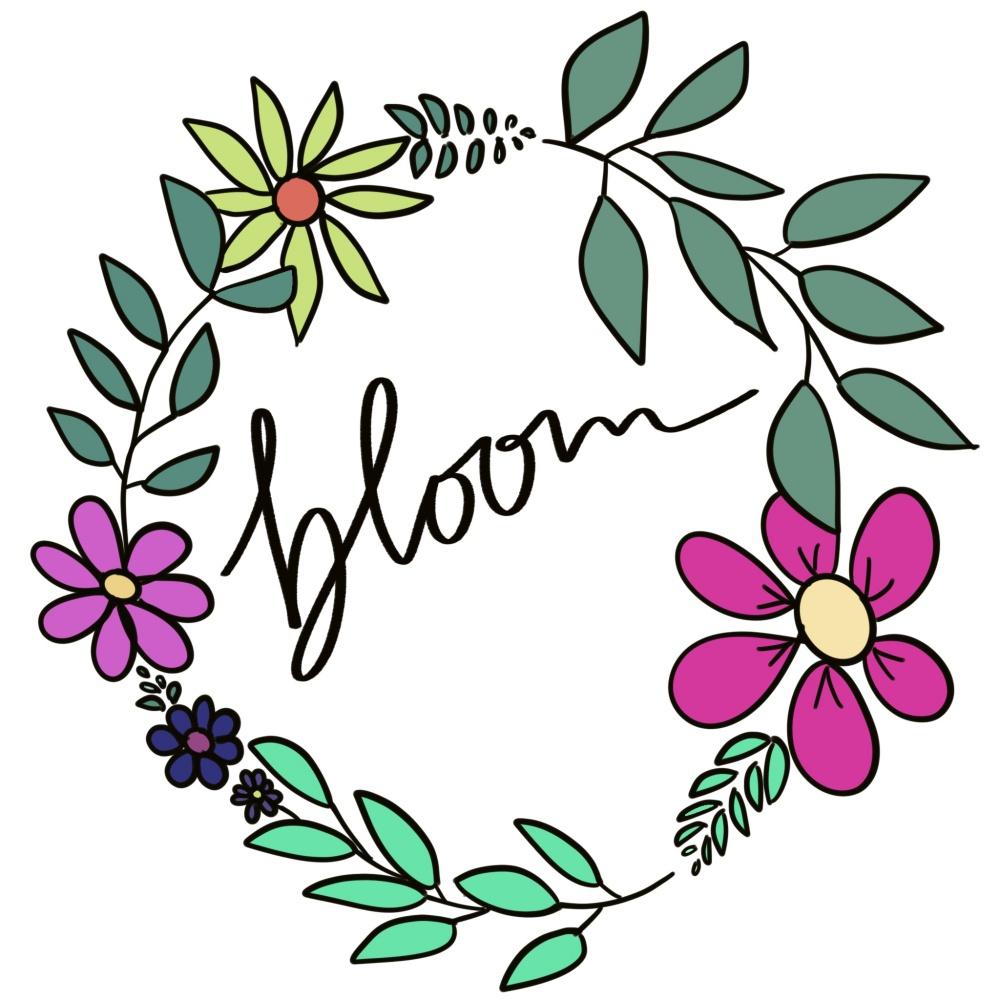 "Blütenkranz mit Lettering ""bloom"""