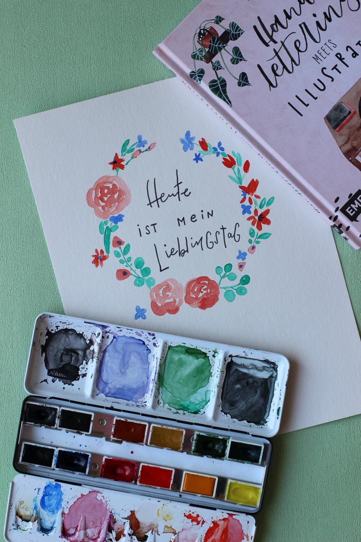 Soziale Distanz Watercolor Übung Handletterei